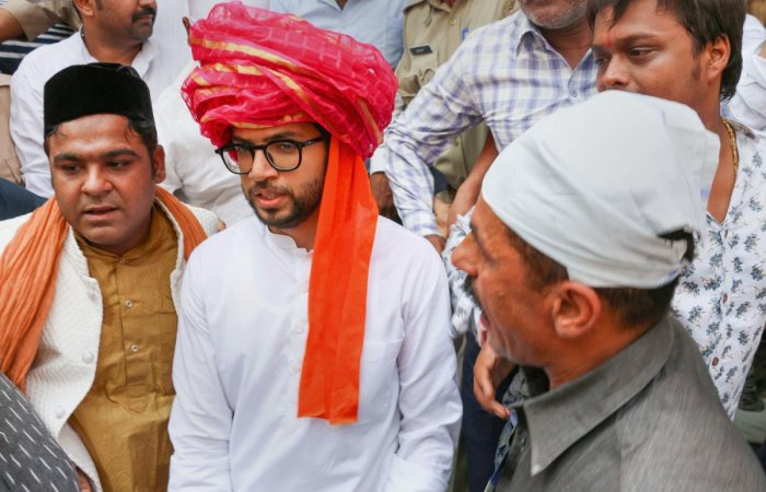 Shiv Sena president Uddhav Thackeray's son and Yuva Sena president Aditya Thackeray voiced his opinion against the car shed at a news conference. PTI file photo
