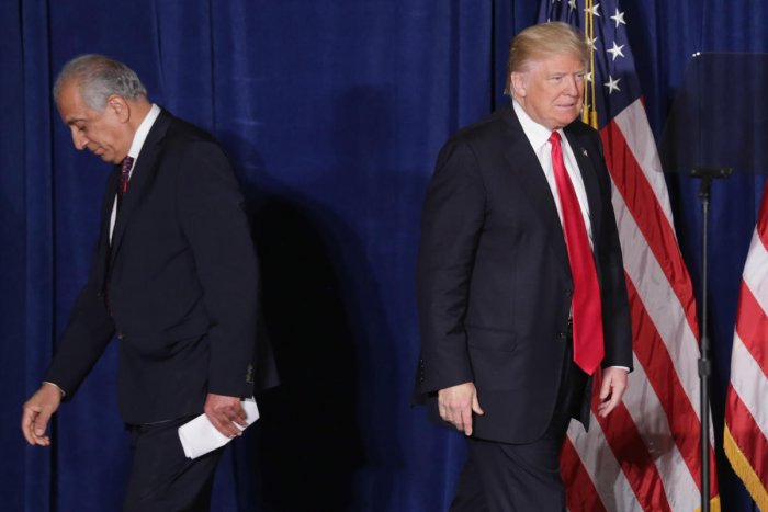 (FILES) In this file photo taken on April 27, 2016 Republican presidential candidate Donald Trump (R) takes the stage after being introduced by former U.S. Ambassador to Iraq and Afghanistan Zalmay Khalilzad at the Mayflower Hotel in Washington, DC. - US