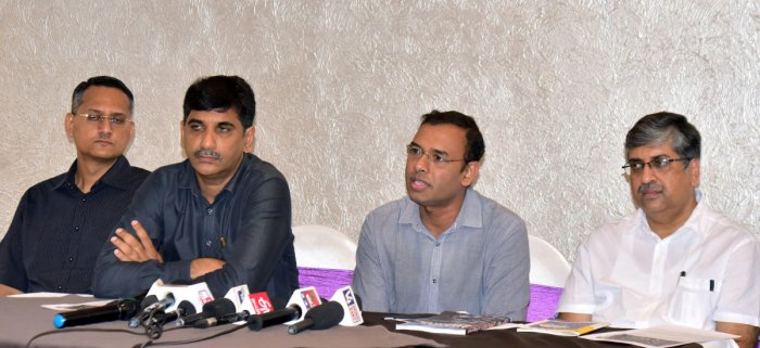 Dr Shibu Raman of the Welsh School of Architecture addresses reporters in Mangaluru on Monday.