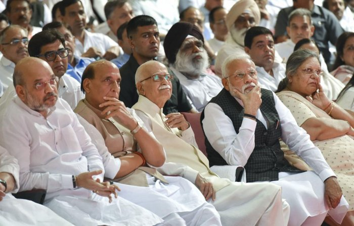 Prime Minister Narendra Modi with (L-R) Home Minister Amit Shah, Defence Minister Rajnath Singh, BJP veteran LK Advani and wife of the former union minister late Arun Jaitley, Sangita Jaitley during a condolence meeting, at Jawaharlal Nehru Stadium in New Delhi, on Tuesday, Sept. 10, 2019. Also seen is senior BJP leader LK Advani. PTI