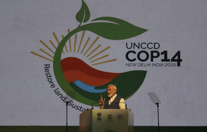Prime Minister Narendra Modi speaks during the opening ceremony of the 14th Session of the Conference of the Parties (COP14) to United Nations Convention to Combat Desertification of in Greater Noida