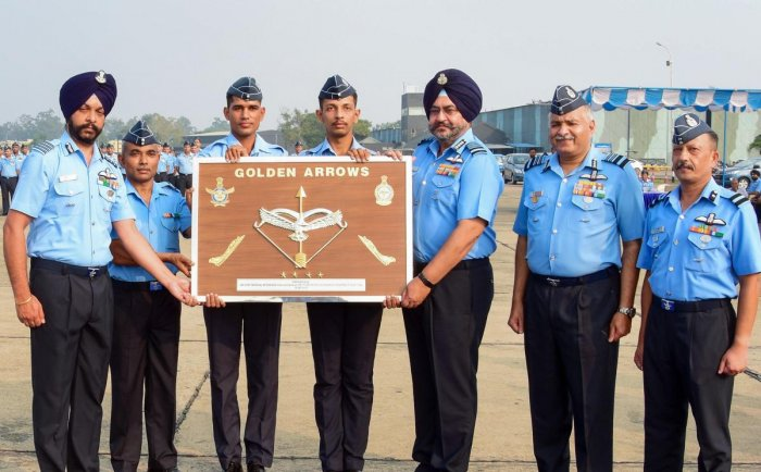 Indian Air Force Chief Air Chief Marshal Birender Singh Dhanoa after resurrecting the No. 17 'Golden Arrows' Squadron. PTI Photo