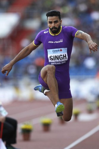 FINE EFFORT: India's Arpinder Singh in action during the men's triple jump at the IAAF Continental Cup in Ostrava, Czech Republic on Sunday. AP/PTI