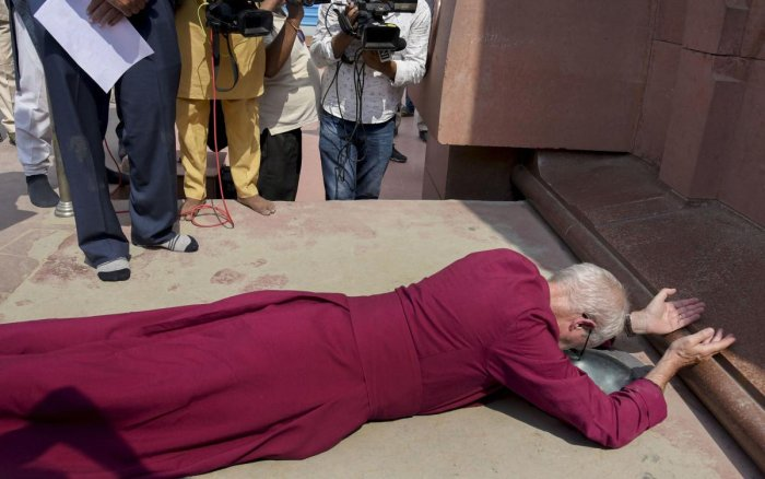 Archbishop of Canterbury Justin Welby at the Jallianwala Bagh memorial in Amritsar on Tuesday. PTI