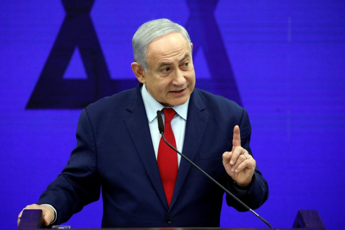 Hours earlier, bodyguards rushed Netanyahu to shelter in the southern Israeli city of Ashdod when the sirens sounded during a Tuesday evening rally, a week ahead of a general election. (Reuters Photo)