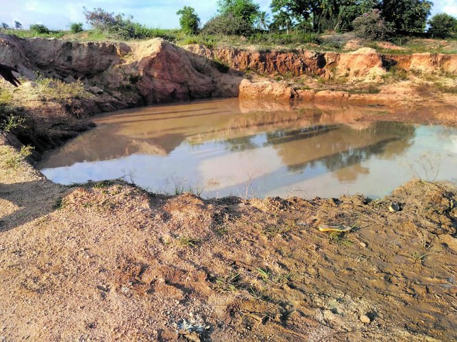 The pond in which the six children met watery grave at Maradaghatta village in Kolar district. DH Photo