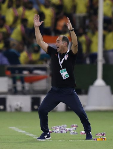 India's coach Igor Stimac reacts after the World Cup Qualifier match against Qatar. (Reuters)