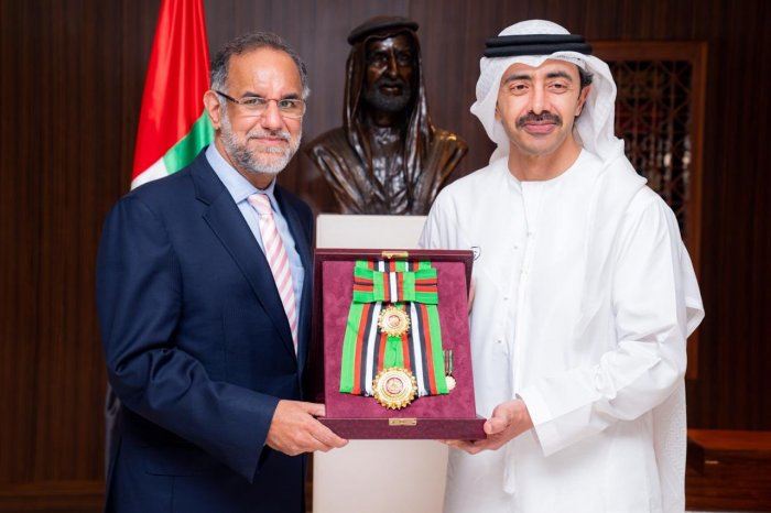 India's outgoing Ambassador for UAE is being conferred with First Class Order of Zayed II award in Abu Dhabi. (Twitter/@IndembAbuDhabi)