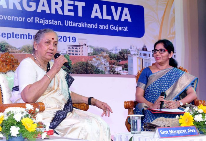 Former Union minister Margaret Alva speaks at a programme held in St Aloysius College in Mangaluru on Wednesday.
