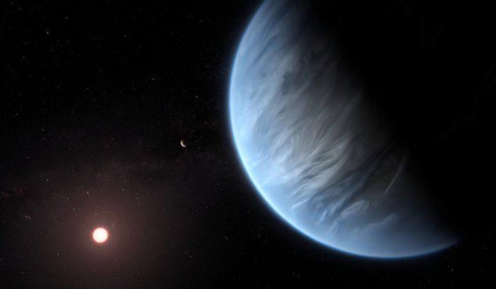 An artist's impression released by NASA on September 11, 2019 shows the planet K2-18b, its host star and an accompanying planet. (Courtesy ESA/Hubble/M. Kornmesser/NASA Handout via REUTERS)