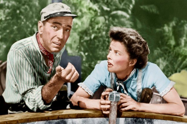 Humphrey Bogart and Katherine Hepburn in 'The African Queen' (1951).