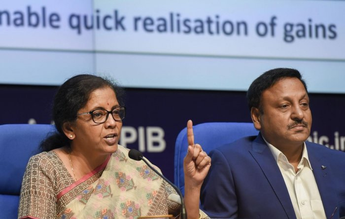 Finance Minister Nirmala Sitharaman with Finance secretary Rajiv Kumar during a press conference to announce the merger of various public sector banks, in New Delhi. PTI File Photo