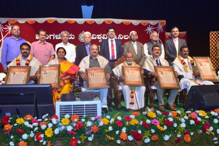 Achievers from various fields were felicitated during the 40th Foundation Day of Mangalore University in Mangalagangothri on Thursday.