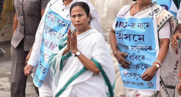 West Bengal Chief Minister Mamata Banerjee leads a protest march against National Register of Citizens (NRC) in Assam, in Kolkata. (PTI Photo)