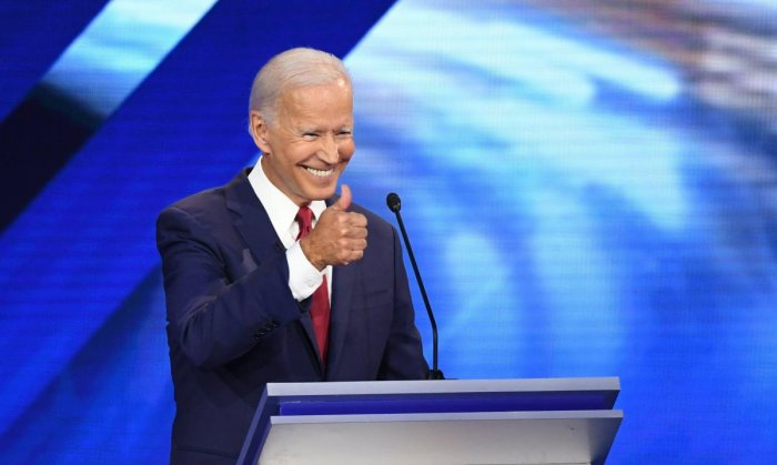 Democratic presidential hopeful Former Vice President Joe Biden speaks during the third Democratic primary debate of the 2020 presidential campaign. (AFP Photo)