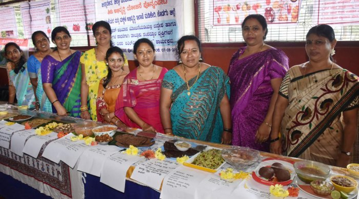 Women exhibited nutritious food during the nutrition campaign in Madikeri.