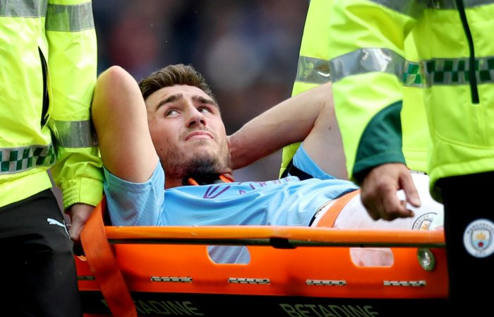 Laporte damaged his cartilage and lateral meniscus in a challenge with Brighton and Hove Albion defender Adam Webster and was carried off in City's 4-0 league victory last month. Reuters File Photo