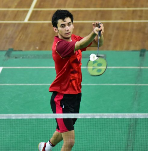 Badminton Player Lakshya Sen seen during the camp practice at the KSBA. (DH File Photo)