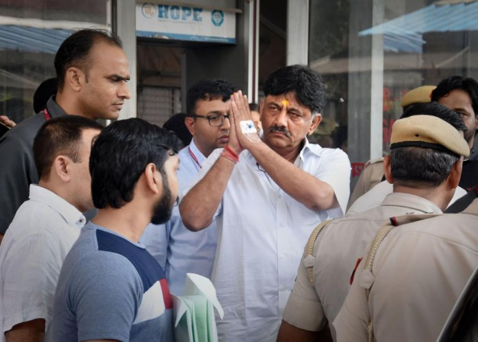 Congress leader DK Shivakumar leaves the Enforcement Directorate (ED) office before being produced at a special court in connection with a money-laundering probe against him, in New Delhi. (PTI Photo)