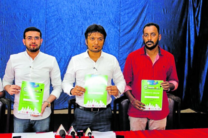 Sahyadri College of Engineering and Management Professor Ananth Prabhu G and others release a pamphlet on e-Swachh Bharat, an e- waste management campaign, in Mangaluru.