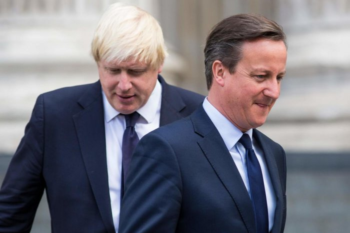 """Cameron said current Prime Minister Boris Johnson -- an old schoolfriend -- behaved """"appallingly"""" during as head of the successful Leave campaign ahead of the referendum. (AFP Photo)"""