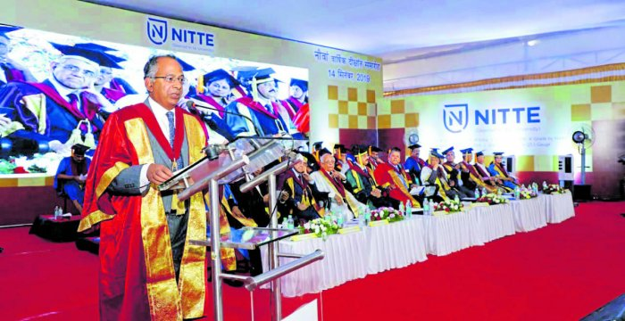 Canterbury Christ Church University Vice-Chancellor Rama Thirunamachandran addresses graduands of Nitte (Deemed to be University) at the ninth annual convocation organised on the university campus on Saturday.