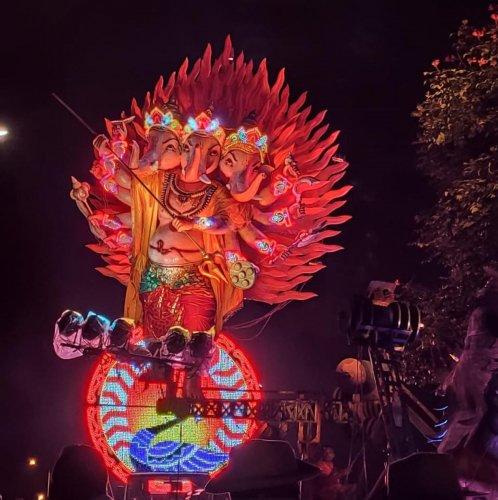 A tableau depicting 'Gajasura Samhara', during the Ganesha idol immersion procession in Madikeri on Saturday night.