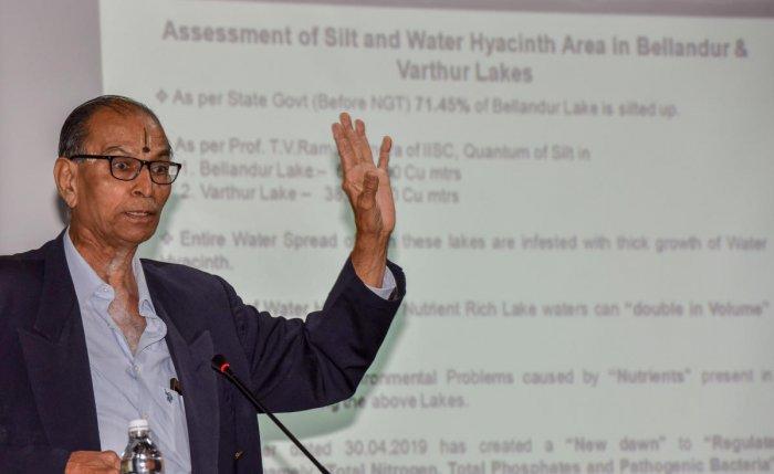 Karnataka Senior Engineers Forum Captain Raja Rao speaks about frothing lakes in the city on Sunday.