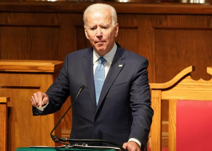 """Democratic U.S. presidential candidate and former Vice President Joe Biden speaks at the """"56th Memorial Observance of the Birmingham Church Bombing"""" at the 16th St Baptist Church in Birmingham, Alabama, U.S. September 15, 2019. REUTERS/Marvin Gentry"""