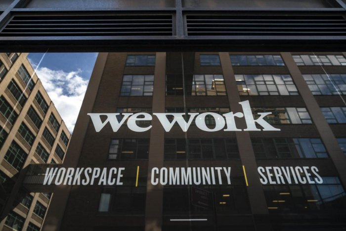 A WeWork office facility stands in the DUMBO neighbourhood in the Brooklyn borough of New York City. (Photo by AFP)