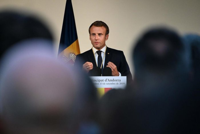 French President and Andorra co-Prince Emmanuel Macron delivers a speech in Andorra la Vella. (AFP Photo)