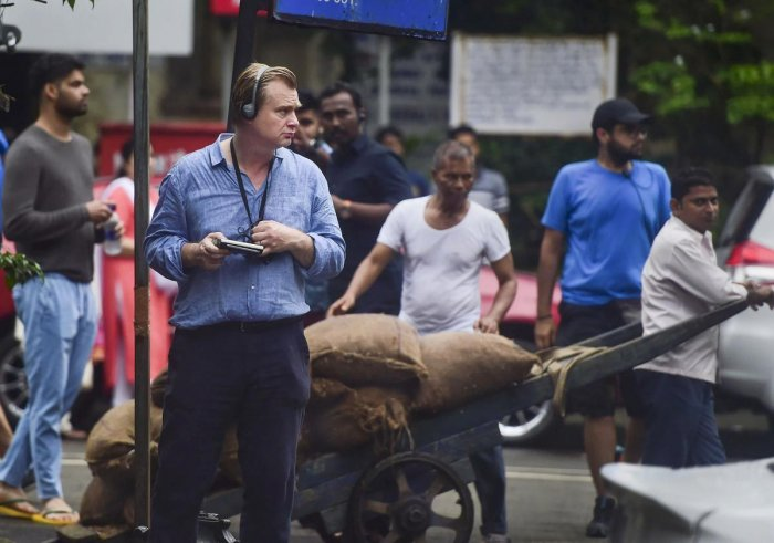 Mumbai: Hollywood filmmaker Christopher Nolan during the shooting of his film 'Tenet' at Colaba in Mumbai. (PTI Photo)