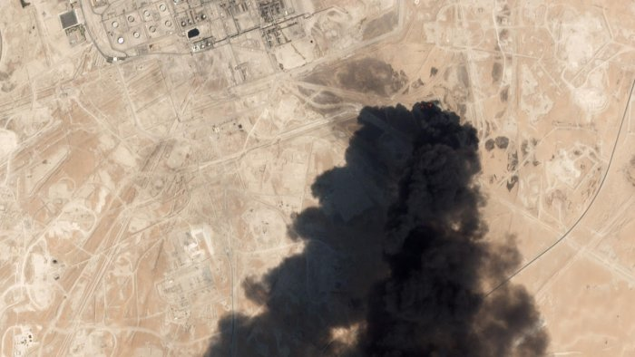 This satellite overview handout image obtained September 16, 2019 courtesy of Planet Labs Inc. shows damage to oil/gas infrastructure from weekend drone attacks at Abqaiq on September 14 2019 in Saudi Arabia. AFP PHOTO / Planet Labs Inc. / HO