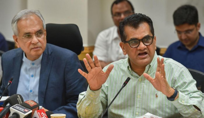 The NITI Aayog CEO also said that there are several measures in the offing to boost the Indian economy and there will be more public sector asset monetisation as well as disinvestment. Photo/PTI