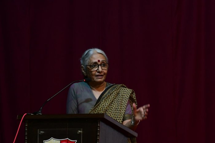 Social activist Aruna Roy delivered Fr Claude D'Souza and Fr Ambrose Pinto Memorial Lecture at St Aloysius College in Mangaluru on Tuesday.