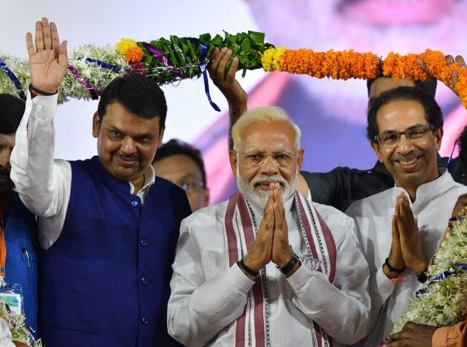 In the 2014 Assembly polls, the BJP had won 122 seats and Shiv Sena 63 in the 288-member house. Photo/AFP