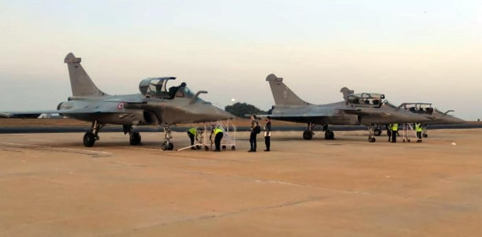 Three Rafale aircraft touched down at the Yelahanka Air Force Station on Wednesday. Pix: Tarmak