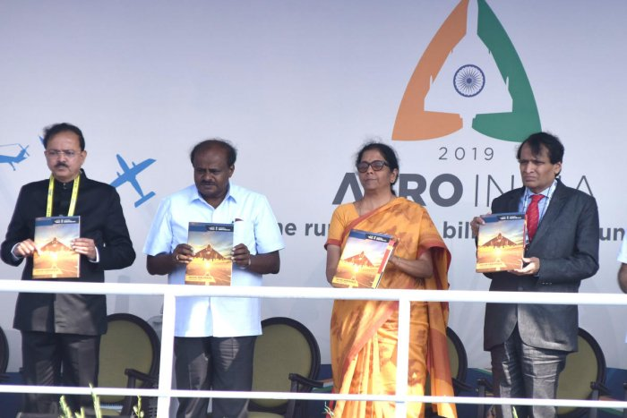 H D Kumaraswamy, Chief Minister, Nirmala Sitharaman, Defence Minister, Suresh Prabhu, Union Minister for Civil Aviation are seen at the inaugural of Aero India organised by Defence Ministry at Yalahanka Aero Space in Bengaluru on Wednesday. Photo by S K Dinesh