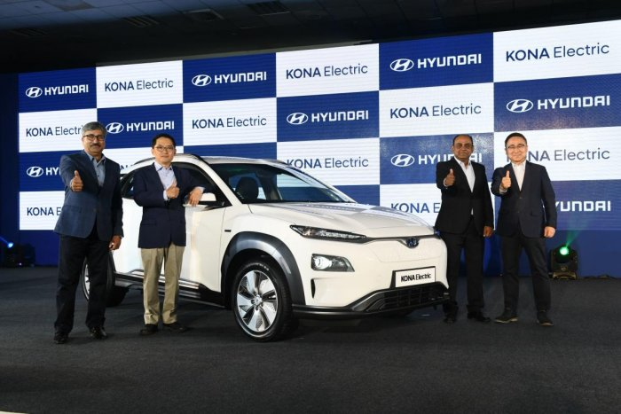 Top Hyundai officials at the launch of India's first fully electric car, the Hyundai Kona