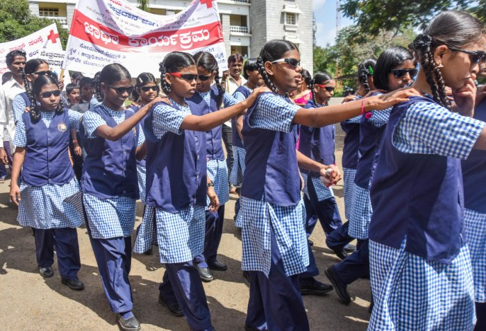 Visually impaired students take part in an event. Credit: DH File Photo/Prashanth HG