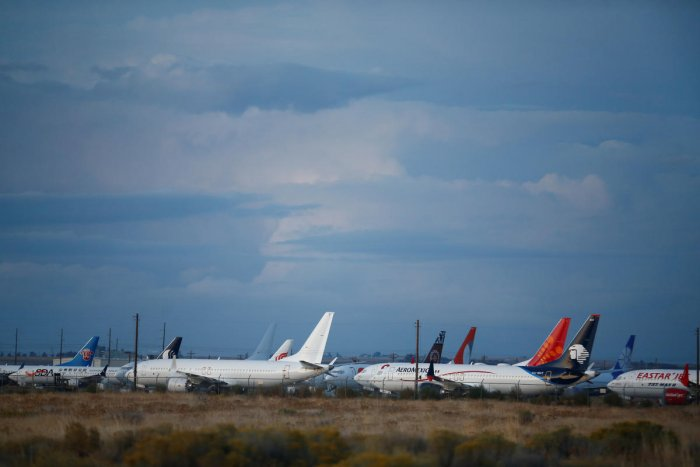 Boeing 737 MAX aircraft are seen parked at Boeing facilities at the Grant County International Airport in Moses Lake, Washington. (Reuters Photo)