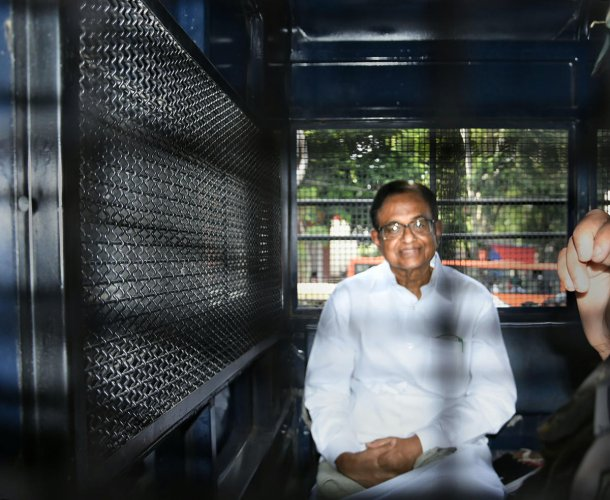 Former finance minister P Chidambaram being taken to Tihar jail. (PTI Photo)