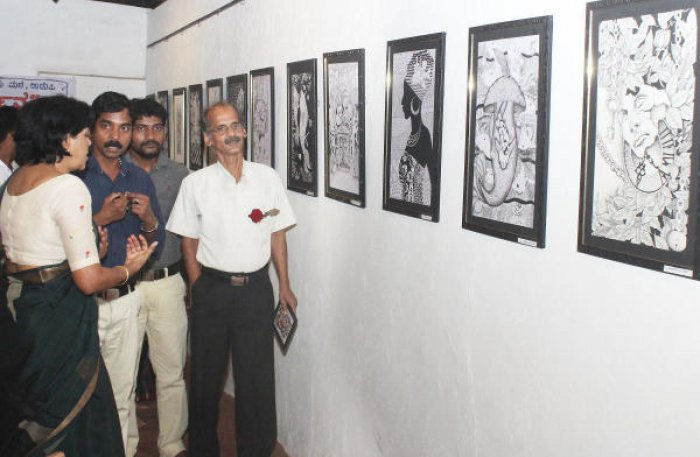 An exhibition of black and white line drawings by 18 students at Vibhuti Art Gallery was inaugurated on Thursday.