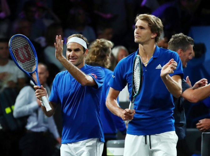 Team Europe's Roger Federer and Alexander Zverev (right) celebrate winning their doubles match against Team World's Jack Sock and Denis Shapovalov in the Laver Cup. Reuters