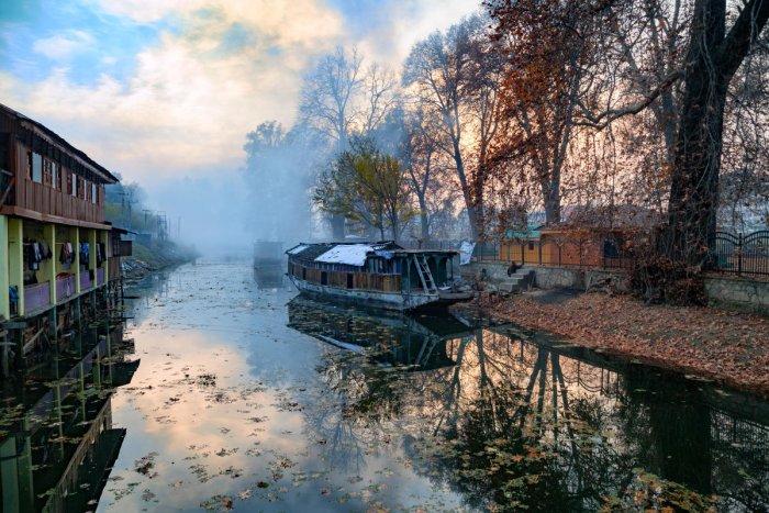 A houseboat in Jhelum river, Jammu and Kashmir