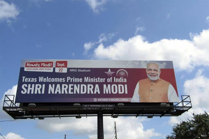 A billboard seen in Houston, USA, announcing the upcoming 'Howdy Modi' event on Sept. 22nd. (Photo by PTI)