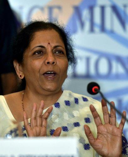 Kolkata: Union Finance Minister Nirmala Sitharaman during a press conference in Kolkata, Friday, Sept. 6, 2019. (PTI Photo/Swapan Mahapatra)(PTI9_6_2019_000169A)