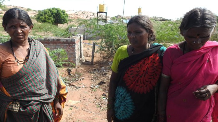 Women near the common toilet facility in P K Halli, Ballari district; Pemmanahalli Gollarahatti in Pavagada taluk, Tumakuru district, where Chitradurga MP A Narayanaswamy (inset) was not allowed to enter because of his caste. dh photos/anitha pailoor