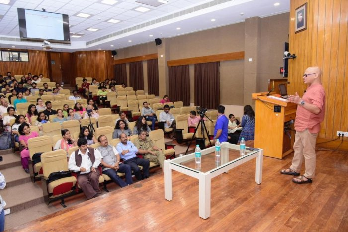 Dr Raghu Murtugudde, a senior climate scientist from University of Maryland, USA delivers a talk on Climate change, sustainability and the global scenario organised by Gandhian Centre for Philosophical Arts and Sciences in Manipal.