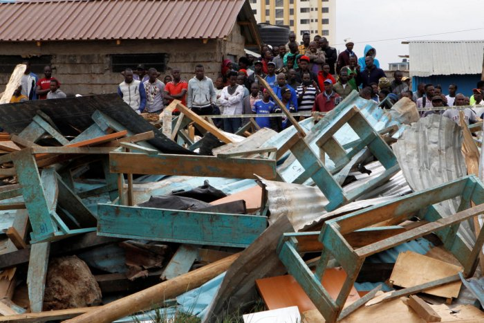 A school building collapsed in the Kenyan capital Nairobi, a government spokesman said, in an accident blamed on shoddy construction. Reuters Photo